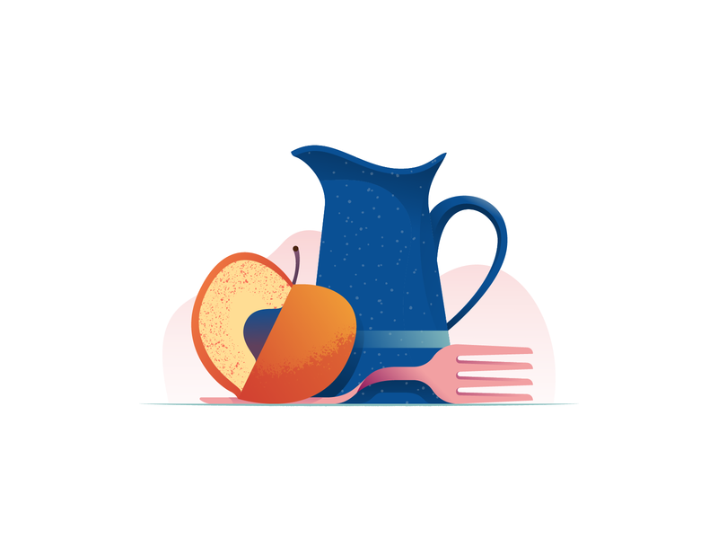 035 Peach dailychallenge still life pitcher enamel fork peach flat illustrator illustration miguelcm