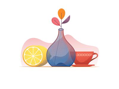 036 Lemon cup vessel lemon still life daily 100 challenge illustration illustrator miguelcm