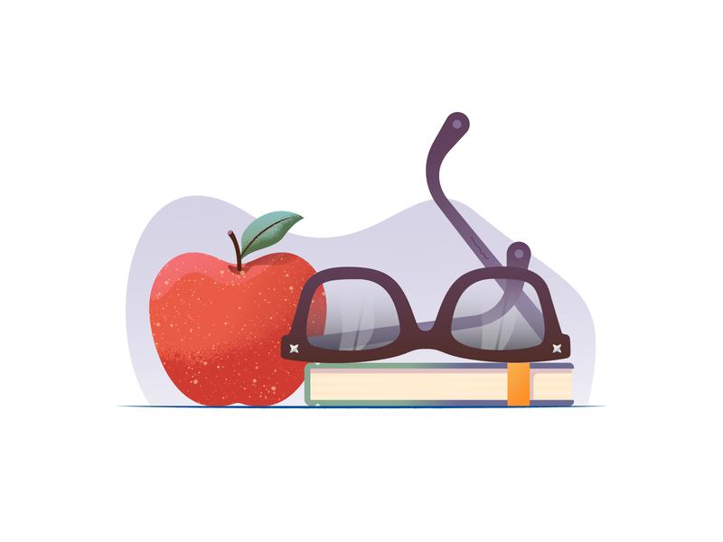 039 Apple dailychallenge scene moleskine glasses still life food fruit apple illustration illustrator miguelcm