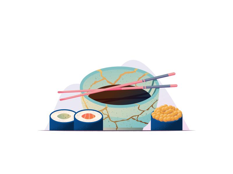 041 Sushi still life dailychallenge kintsugi rice avocado salmon sushi illustrator miguelcm