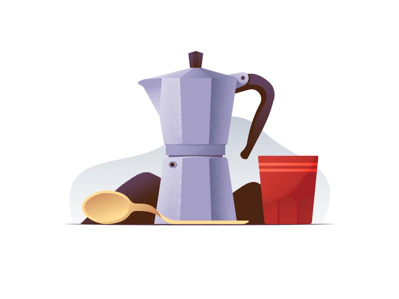 042 Coffee moka pot bialetti cup kettle spoon coffee illustration illustrator miguelcm