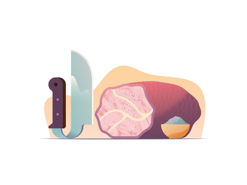 044 Meatloaf vector knife meatloaf meat wonky still life dailychallenge illustrator illustration miguelcm