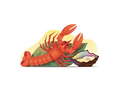 045 Lobster dailychallenge still life oysters sellfish food fish lobster illustration miguelcm