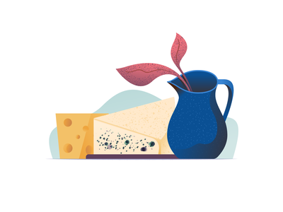 047 Cheese dailychallenge food plant ceramic wonky vessel cheese illustrator illustration miguelcm
