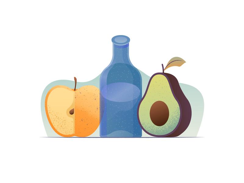 049 Avocado food fruit dailychallenge glass bottle apple avocado still life illustrator illustration miguelcm