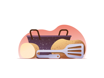 052 Potato enamel kitchen potato wonky daily challenge illustrator illustration miguelcm