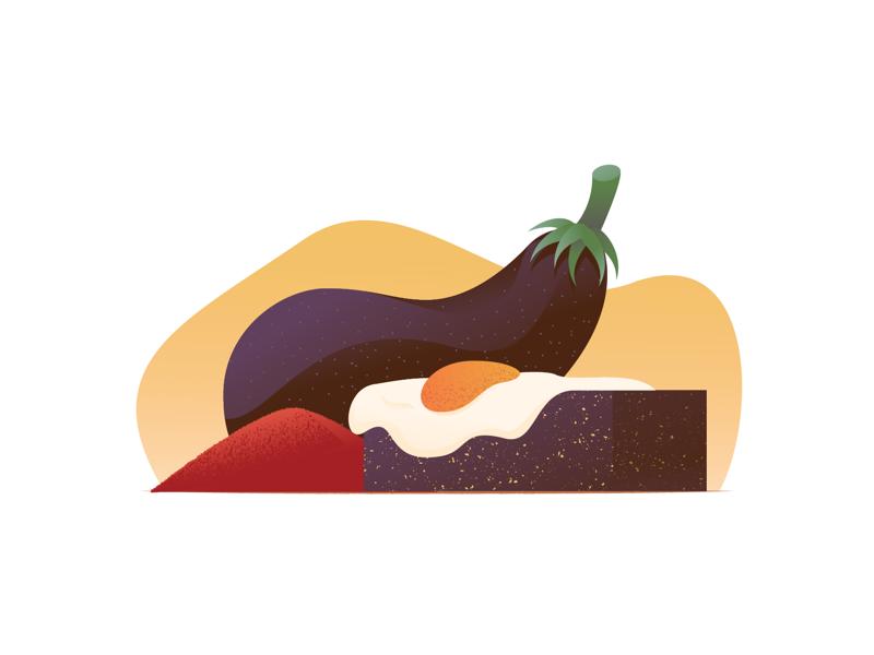 056 Egg miguelcm food illustrator illustration dailychallenge still life saffron eggplant concrete egg