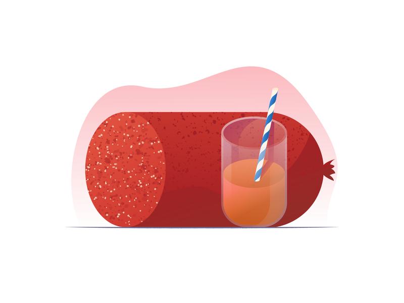 058 Salami straw orange juice dailychallenge still life food salami illustrator illustration miguelcm