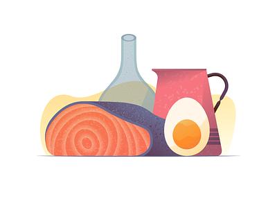 059 Salmon food dailychallenge vessel jar salmon egg still life illustrator illustration miguelcm