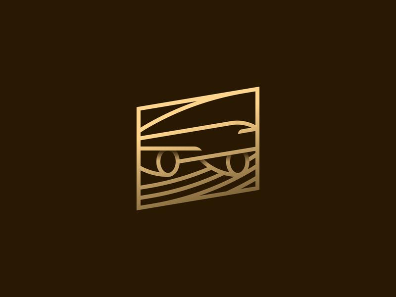 062 Airplane badge premium illustrator flight dailychallenge gold airplane monogram lines illustration miguelcm