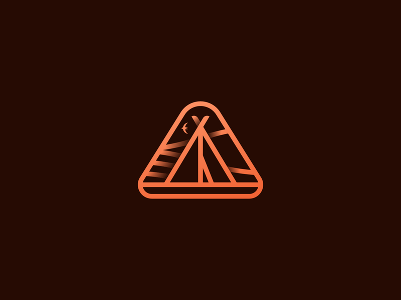 063 Tent daily challenge camping tent monogram badge illustrator illustration miguelcm