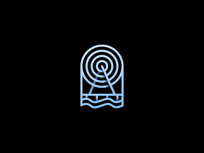 064 Wheel dailychallenge badge monogram waves sea dock santa monica pier wheel illustrator illustration miguelcm