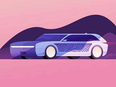 Future Wagon station wagon ford intelligent car wooden electric car vehicle car wagon illustrator illustration miguelcm