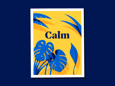Calm procreate tropic deco scene nature poster lettering calm plants miguelcm