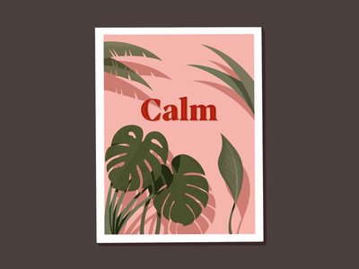 Calm II deco calm monstera scene plants procreate illustrator illustration miguelcm