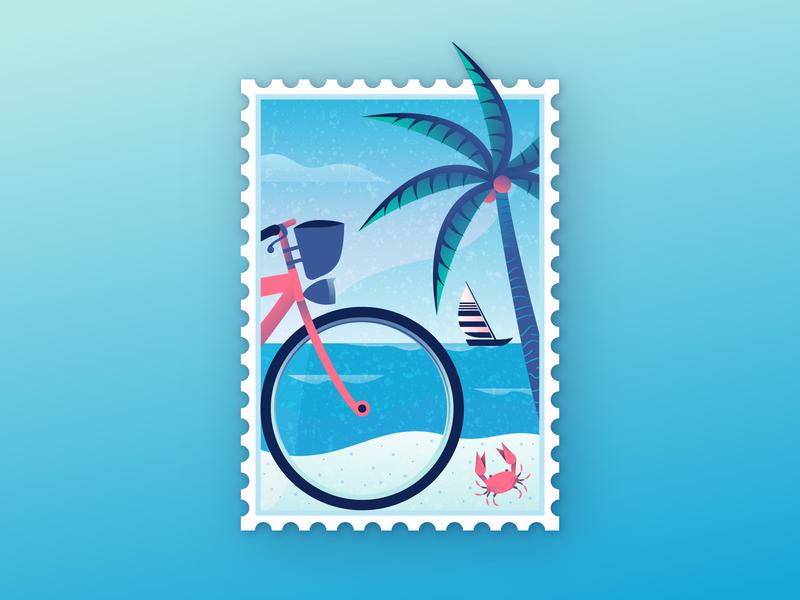 Beach Stamp landscape scene sea crab palm bicycle stamp beach retrosupply illustration illustrator miguelcm