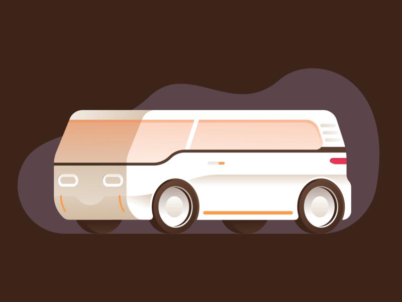Electric van fleet volkswagen illustration illustrator miguelcm fast flat concept van electric vehicle car