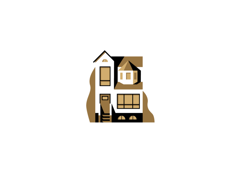 Gold House home illustration house architecture building scene flat illustrator miguelcm