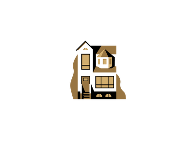 Gold House home illustration house architecture building scene flat illustrator miguelcm
