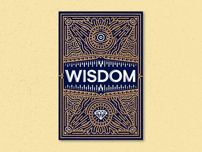 Wisdom Card engraving lettering typogaphy procreate design linework illustration miguelcm