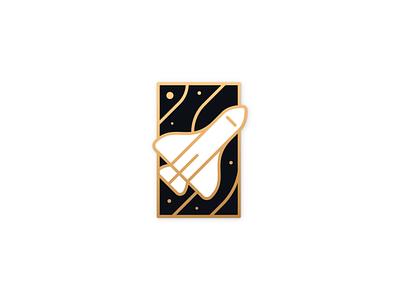 Space shuttle badge linework gold astronaut cosmos stars shuttle space premium badge illustrator illustration miguelcm