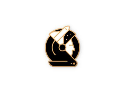 Space helmet stars premium gold cosmos badge astronaut linework illustration illustrator miguelcm