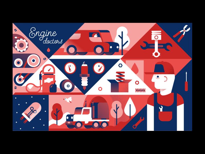 Engine Doctors workshop vehicle truck car scene flat illustration illustrator miguelcm
