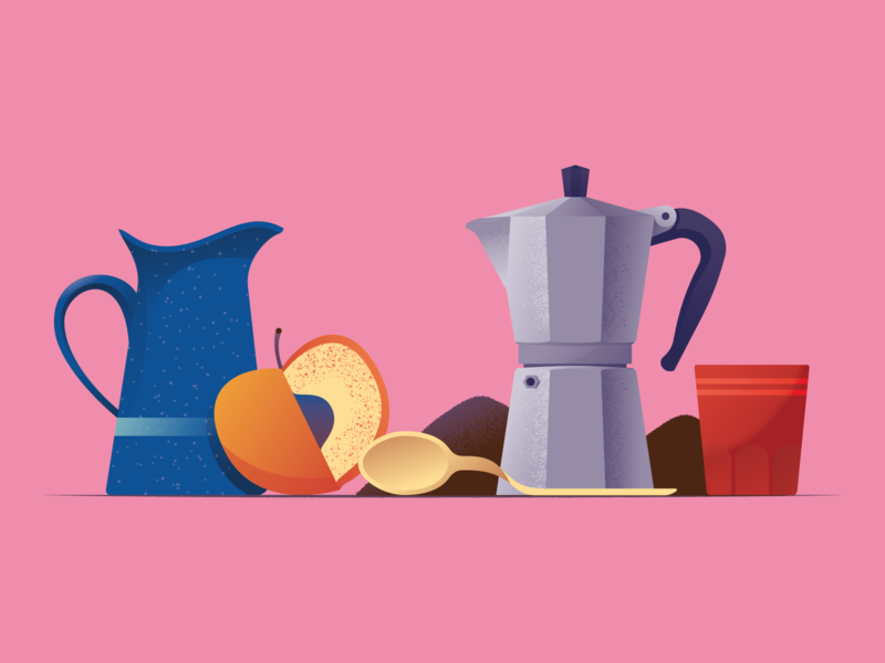 Juice or coffee? juice peach coffee bialetti stilllife scene illustration illustrator miguelcm