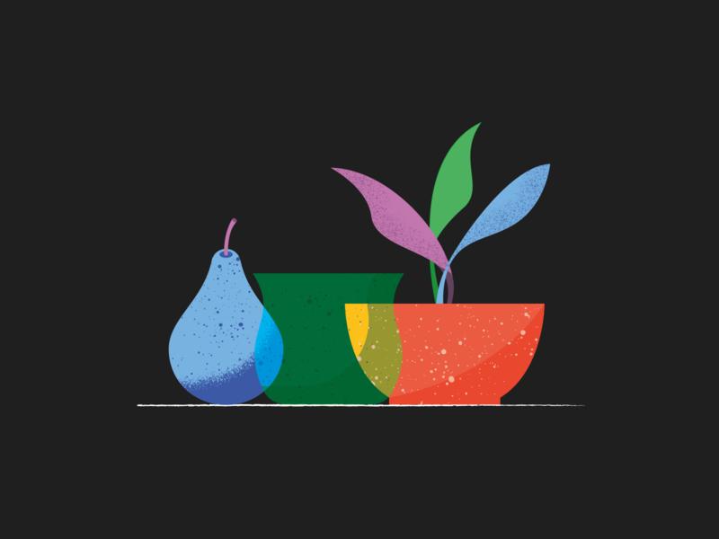 Pieces glass vassel pear stilllife scene illustration illustrator miguelcm