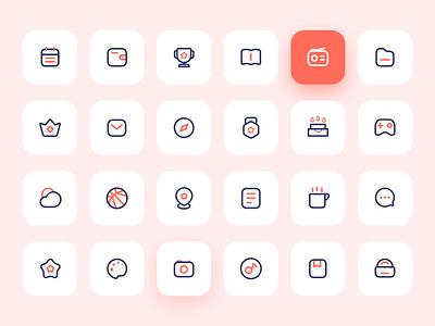 24 linear two-color ICONS logo flat web illustration design app tabbar icon ux ui