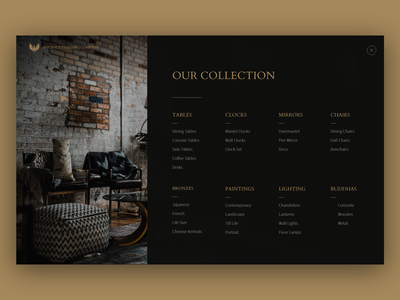 Mega Menu website concept website design blackandgold blackandgoldcolor black gold uidesign dak ui luxury ui antique ui vintage classic mega menu menu ui menu design design
