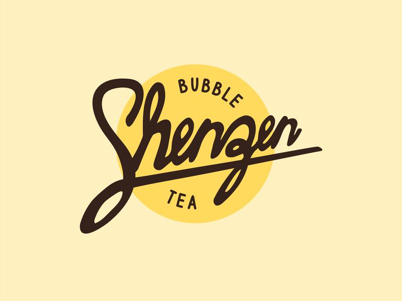 Shenzen Bubble Tea bubble tea bubble lettering hand lettering branding logo design 30 day logo challenge