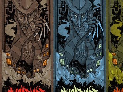 Scrapped Color Schemes nightmare horror freddy screen print poster scrapped color tests mondo