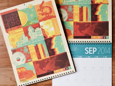 NPR 2014 Calendar calendar npr illustration mosaic record player car map stereo face radio planet science