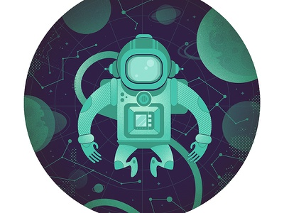 Spaceman  space spaceman astronaut cosmos constellation space suit character symmetrical planet