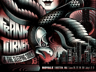 Frank Turner and the Sleeping Souls psych woman guitar eagle skyline city boston illustration screen print poster gigposter frank turner