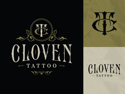 Cloven Tattoo typography type lettering custom type monogram branding logo tattoo cloven