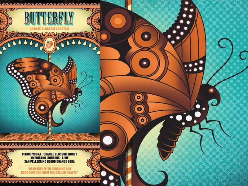 Flight Club - Butterfly circus menu cocktail butterfly illustration flight club