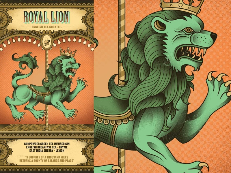 Flight Club - Royal Lion circus crown crest heraldry lion packaging menu cocktail flight club
