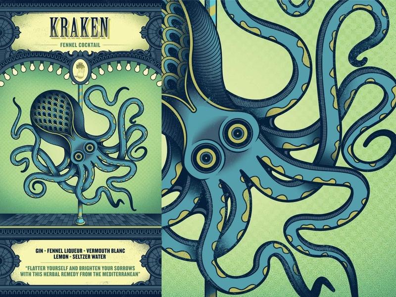 Flight Club - Kraken illustration fennel creature sea creature tentacle squid octopus kraken packaging menu cocktail flight club