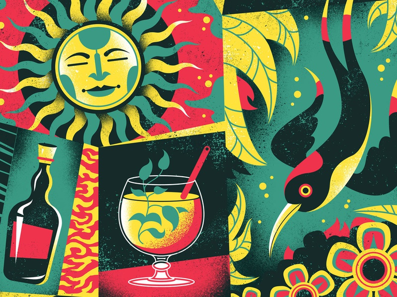Rhum Agricole illustration screen print poster pattern drink cocktail sun bird tropical caribbean liquor alcohol rum