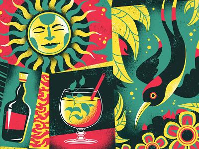 Rhum Agricole illustration screen print poster pattern drink cocktail sun bird tropical caribbean liquor alcohol rum