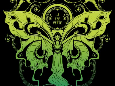 Absinthe character design woman wings butterfly french fairy ghost spirit spirits liquor alcohol screen print illustration poster print