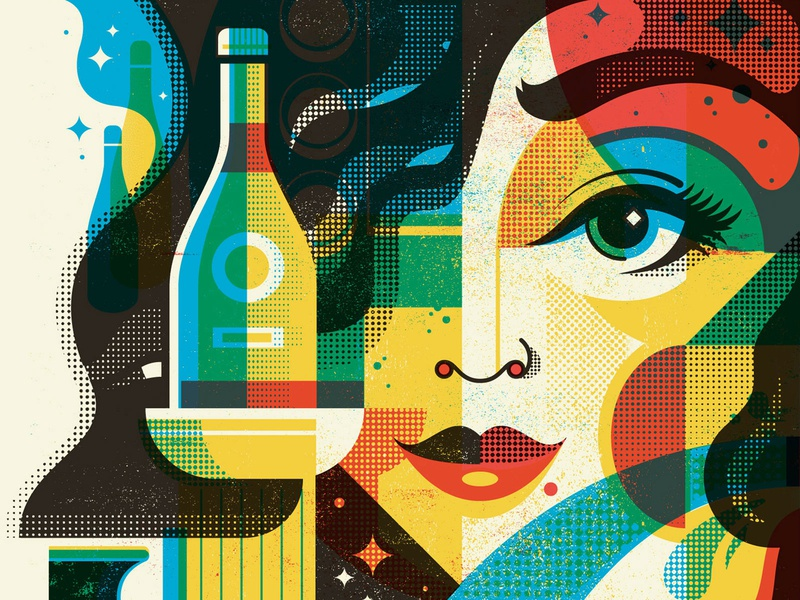Sake illustration cmyk overprint screen print character design face woman bottle wine rice wine tokyo japan sake