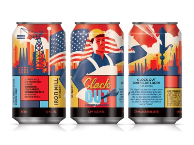 Clock Out American Lager illustration americana beer label packaging beer can beer