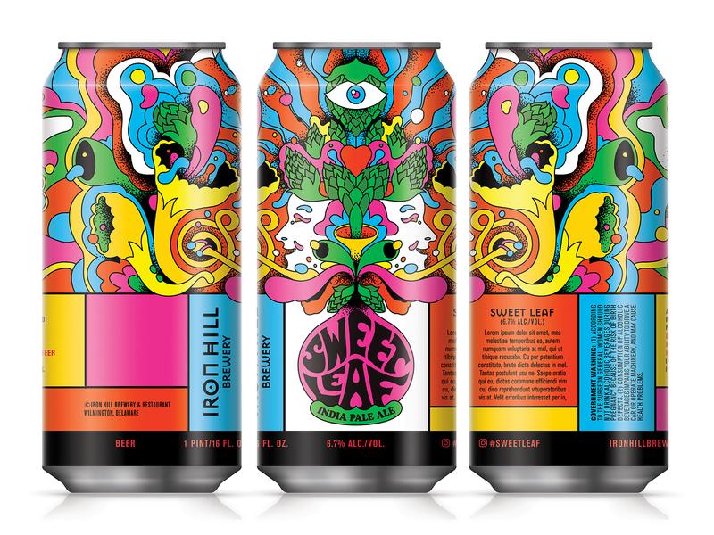 Sweet Leaf IPA psychedelia 70s sweet leaf ipa psychadelic illustration design packaging beer label beer can beer art beer