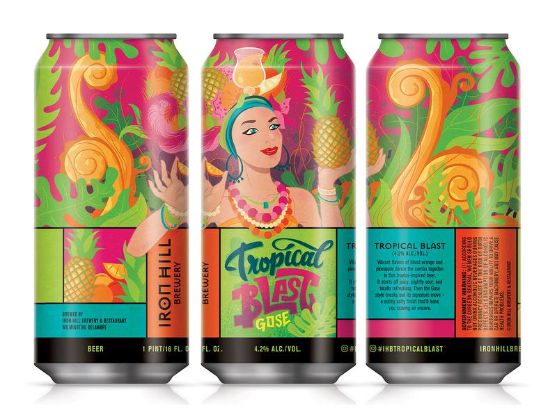Tropical Blast Gose gose tropical beer label design illustration beer label beer can beer art beer