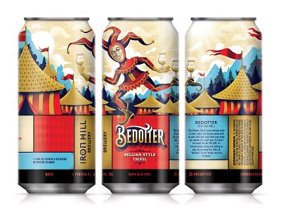 Bedotter Belgian-style Tripel beer branding middle ages medieval illustration clown jester packaging beer label beer can beer