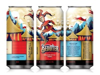 Bedotter Belgian-style Tripel beer branding middle ages medieval illustration clown jester packaging beer label beer can beer