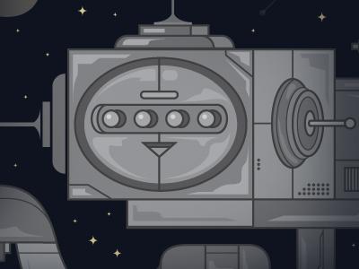 Cosmobot gray ghost illustration web surfer robot cosmos space explorer mechanical geometric rocket ship stars